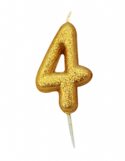 Number 4 Gold Glitter Candle